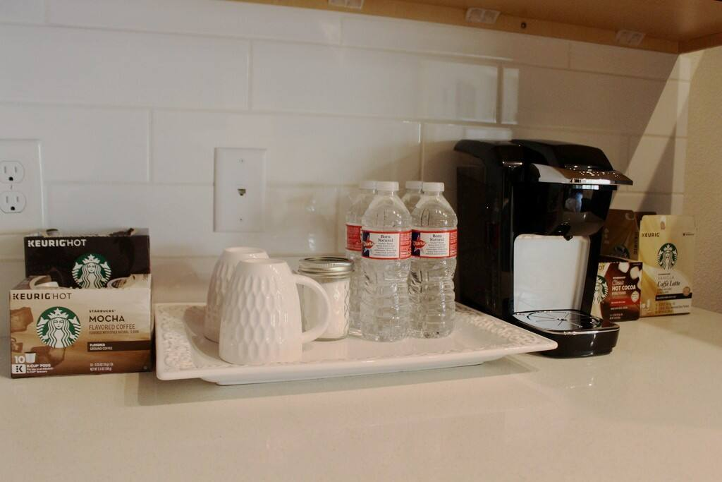 Keurig coffee machine with Starbucks coffees and teas