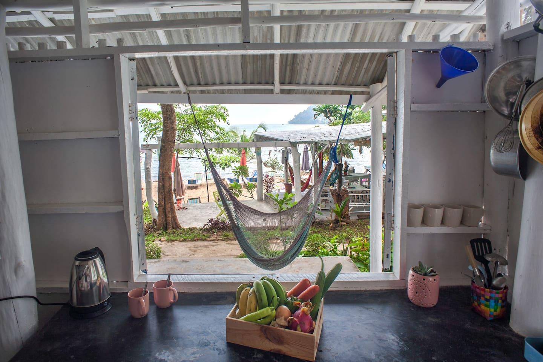 Kitchen view overlooking the beach