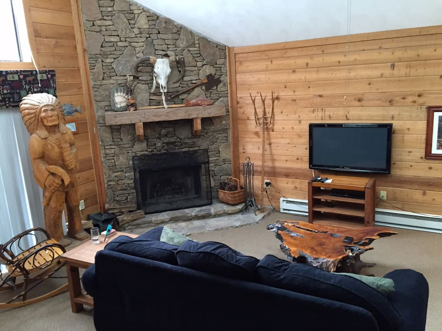 Comfy Living room with wood burning Fireplace
