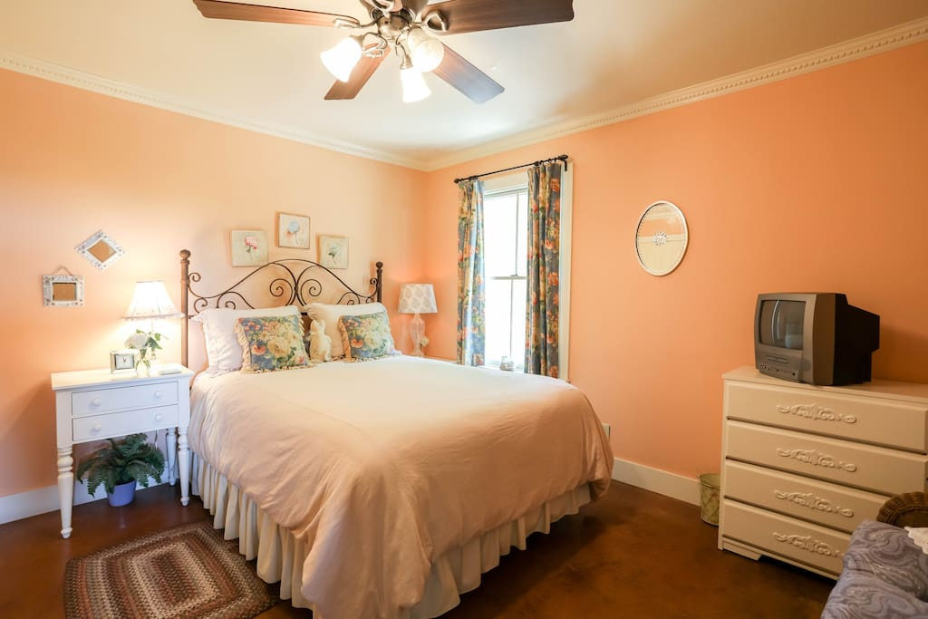 The bedroom features a comfortable queen size bed