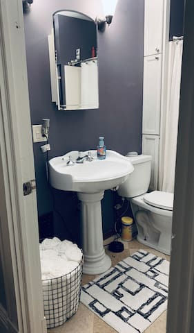 Spa like styled bathroom for your use inconvenience perfect for taken a bath with bath salts and bath bombs(fizzys) to relax and rewind after a long day,The bathroom is also stocked with all of the essentials from shampoo to toothbrushes to deodorant towels etc. if you need them :-)
