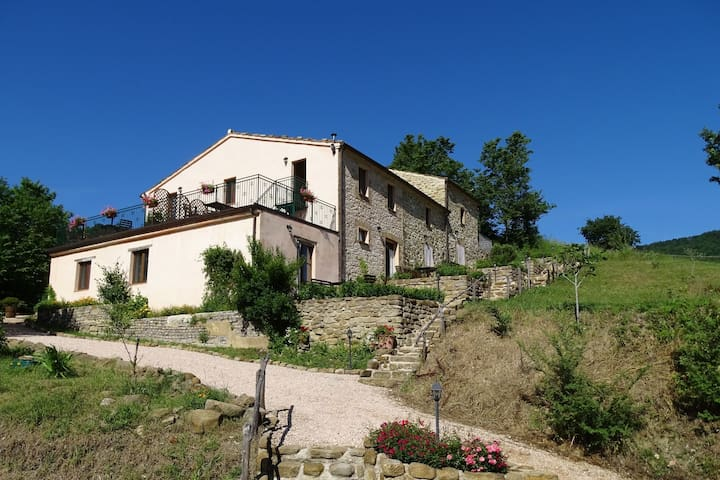 Apartment in restored farmhouse, beautiful views over the hills and pool