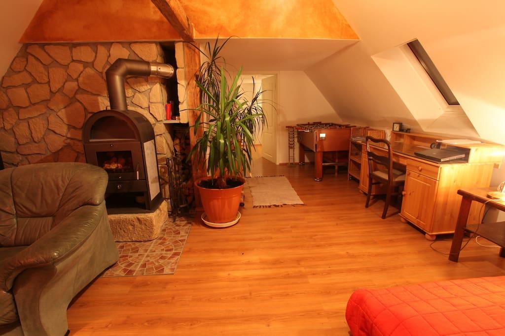 idyllisches g stezimmer mit kamin h user zur miete in dresden sachsen deutschland. Black Bedroom Furniture Sets. Home Design Ideas