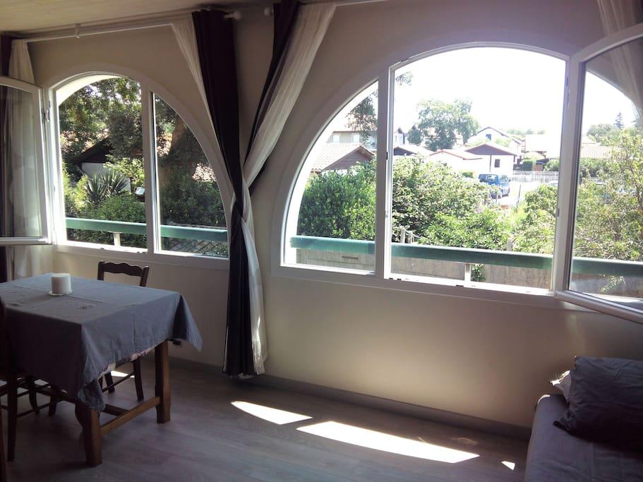 Grand balcon de 14 m² complétement isolé avec grande fenêtres donnant sur arbres et jardins, très calme. Un canapé lit pour deux personnes.