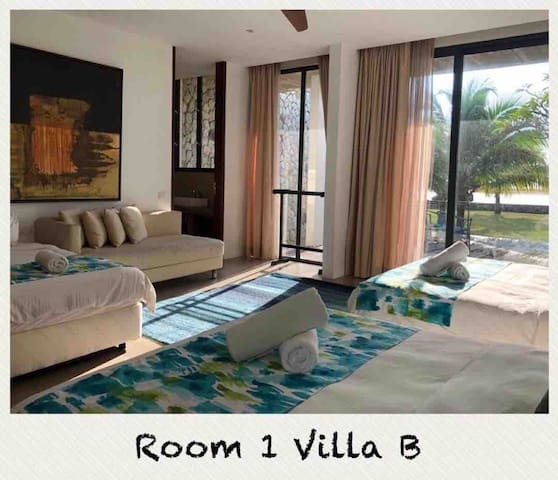 Room 1 direct view to the sea with 2 queen size bed and 1 super single