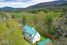 Ariel view of Your rental over-looks SKI SLOPE only 1 minute drive to ski slope & snow-tubing park & town.