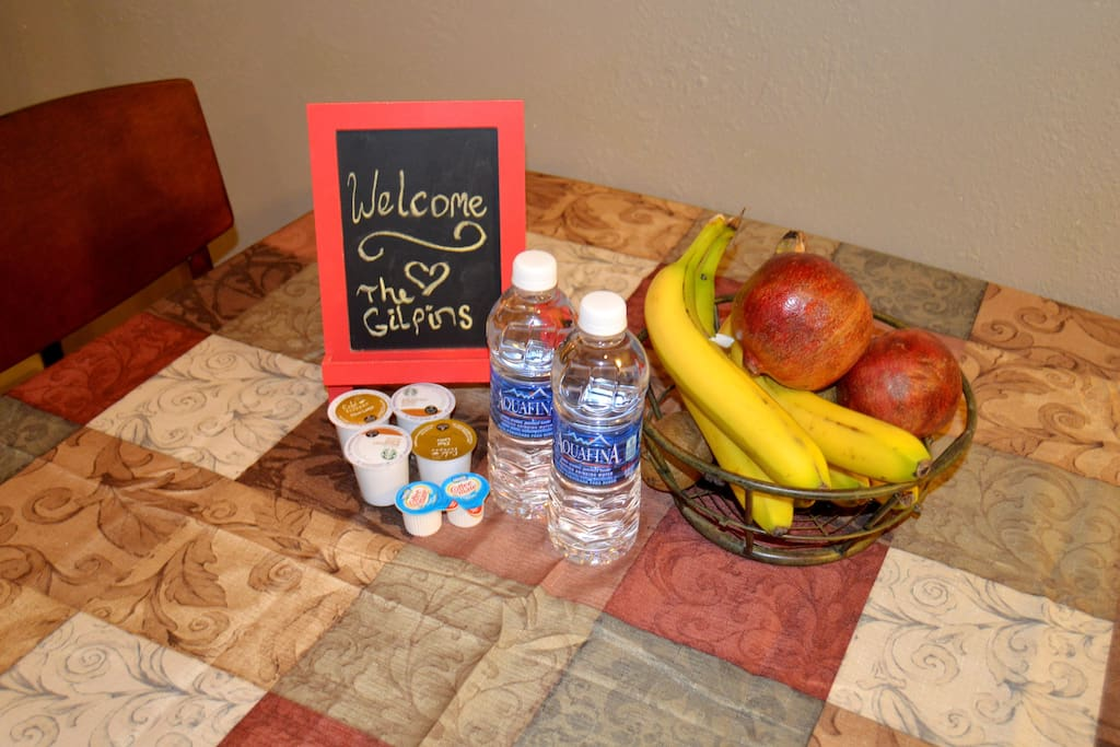 Complementary fruit, water and coffee