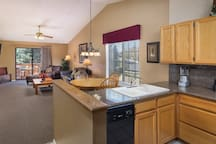 Kitchen, Dining, & Living Room