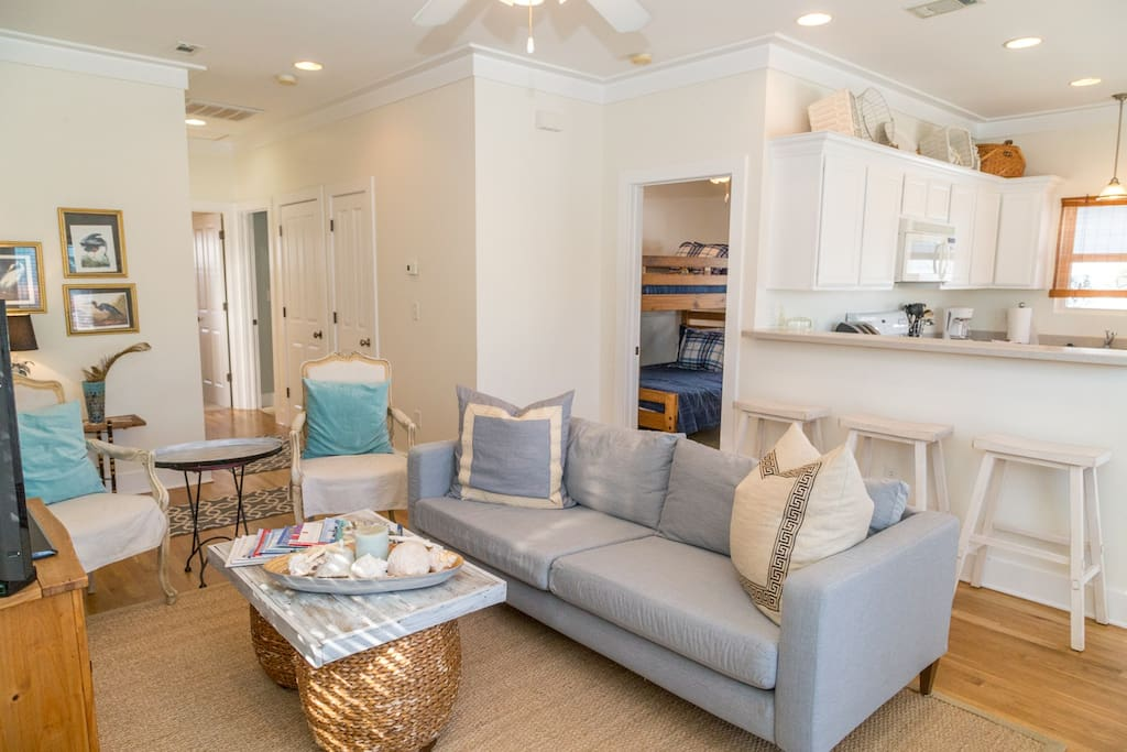 Spacious Living Room perfect for entertaining or a quick meal at the breakfast bar.