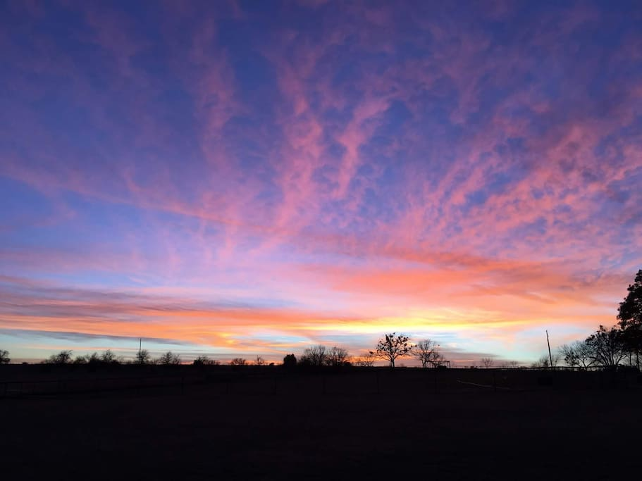 Sunsets are painted in pastels at Windwalker Farm.