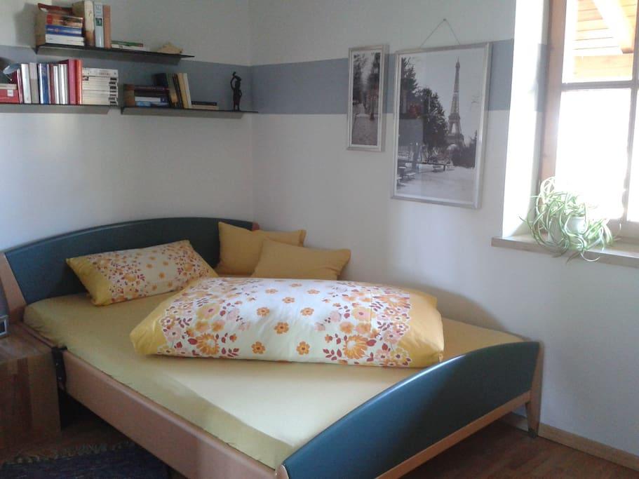 Schlafzimmer mit großem Kleiderschrank, Schreibtisch und Fernseher