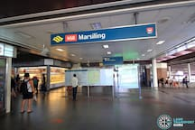 Marsiling MRT Station (2-min walk / 1 bus stop away from the apartment). You can find a big NTUC Fairprice supermarket, a bakery, a 7-Eleven store and other shops here. It's right across Marsiling Point, a town centre with 100+ shops and eateries.