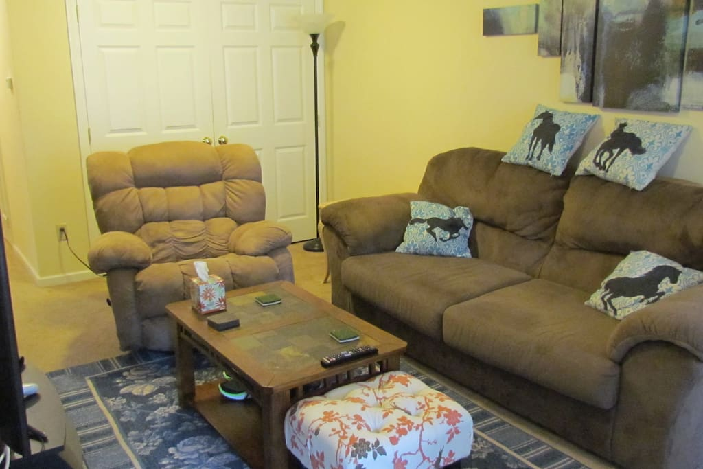 Living room with couch and recliner