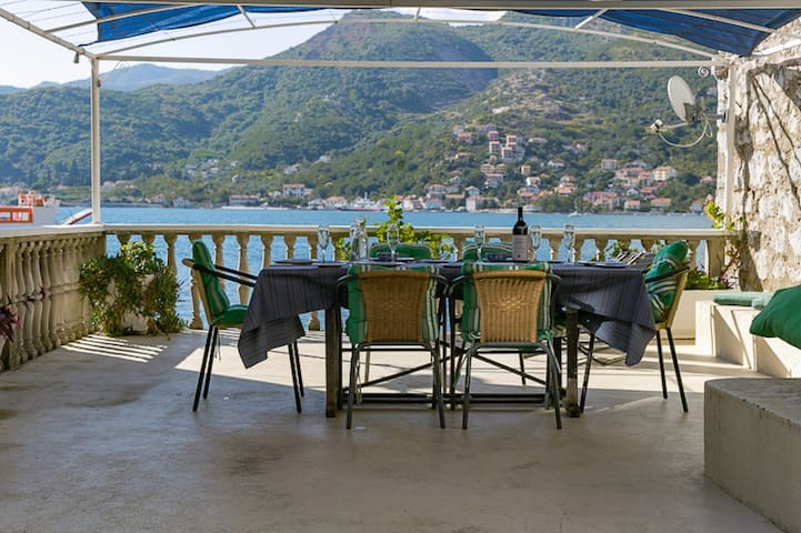 Comfy Kotor Bay waterfront stone cottage with view