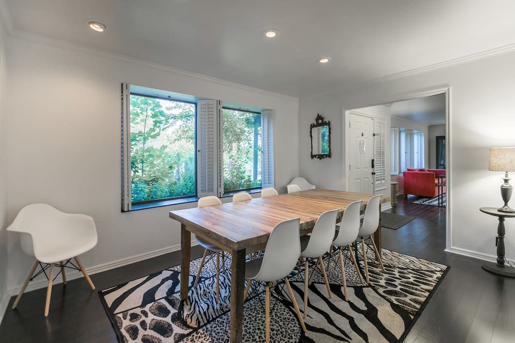 Dining Room, beautiful views of front yard/property foliage.