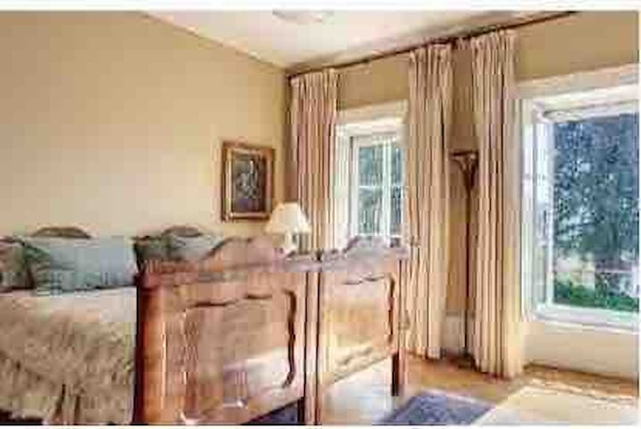 Grande chambre double (lits séparés), très lumineuse, cheminée, petite table, vue sur le jardin.