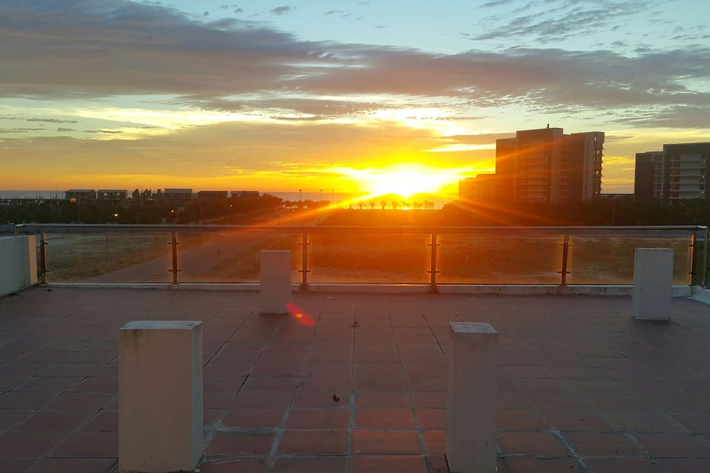 Sunrise view on rooftop of the house