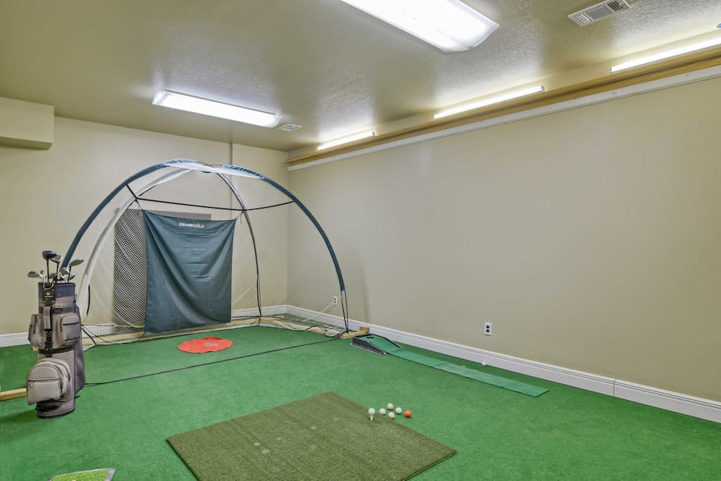Practice your stoke in the indoor driving range.