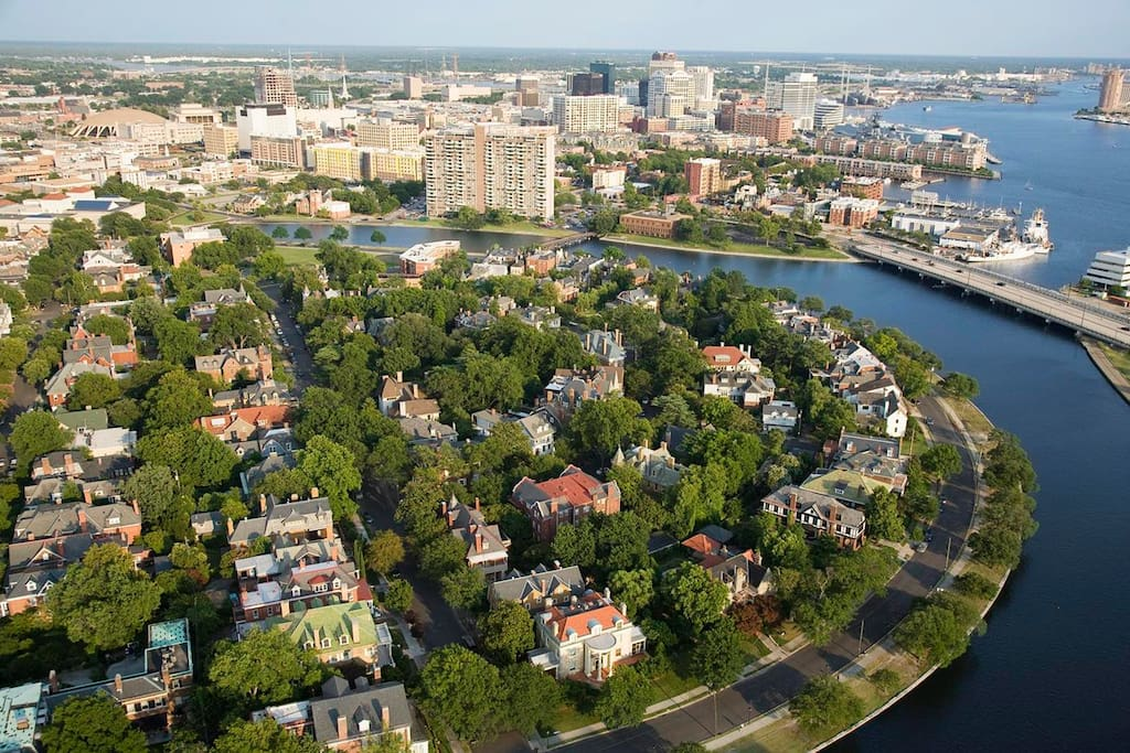 Welcome to Norfolk, VA's Ghent Neighborhood...A very special place indeed. My house is just 3 blocks from the walking trail along the riverfront shown here. That's Norfolk Downtown in the upper right corner...needs to be updated...we just opened a beautiful new hotel