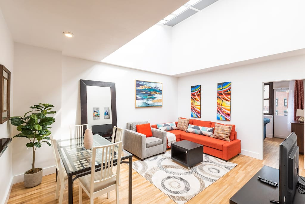 Large marvelous living space which feels open and lively. Our ground up renovation featuring New modern furniture and accents with the highest attention to detail.