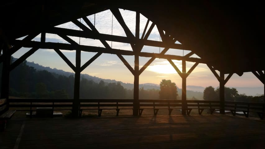 sunrise through the pavilion