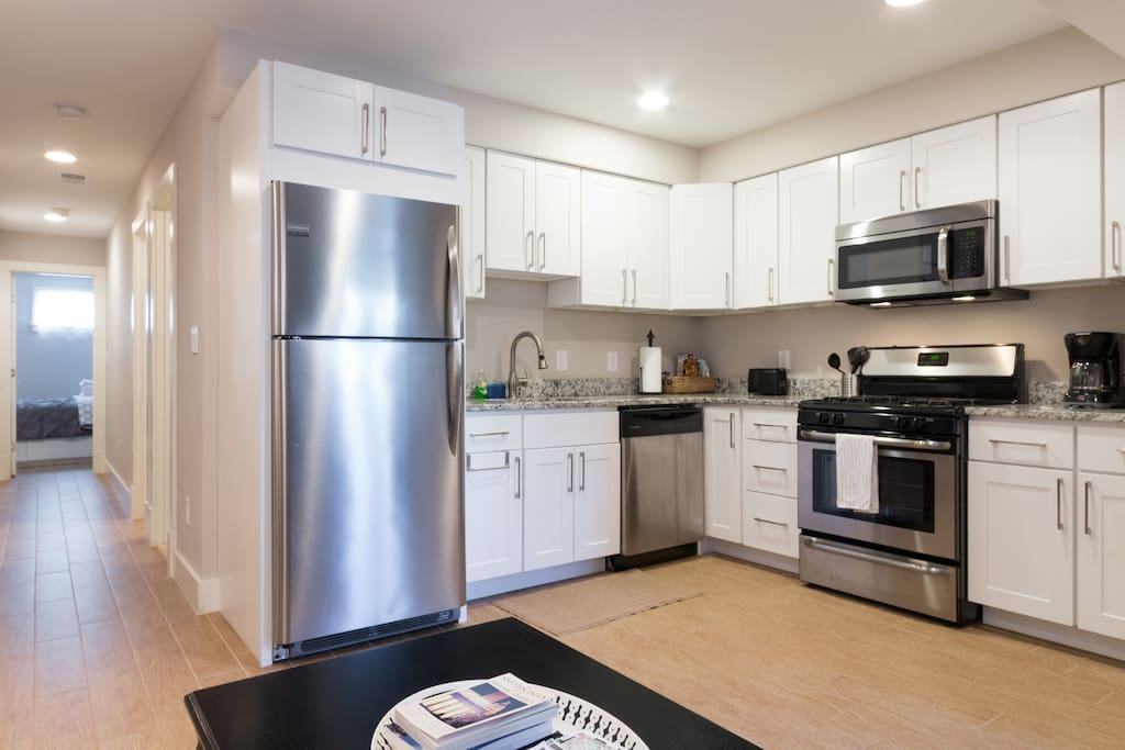 Brand new appliances, including a dishwasher makes in easy to save money and eat in but if you don't feel like cooking Grub Hub delivers from 52 different restaurants in our area.