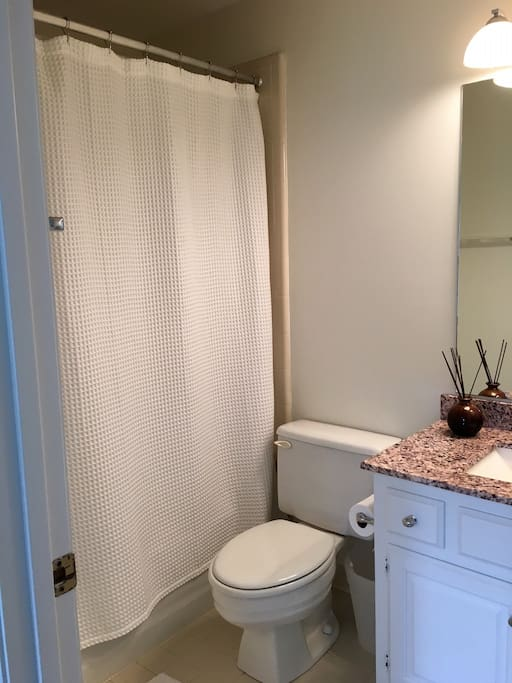 Full guest bath with shower and bathtub