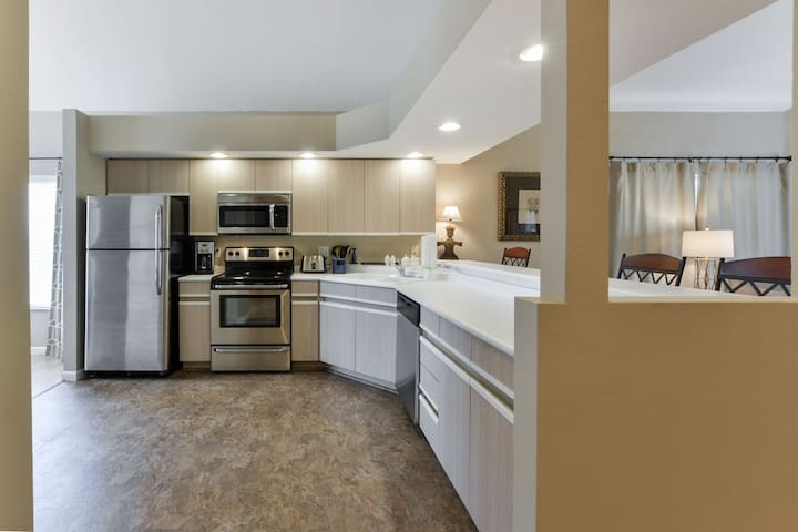 Our modern kitchen features stainless-steel appliances