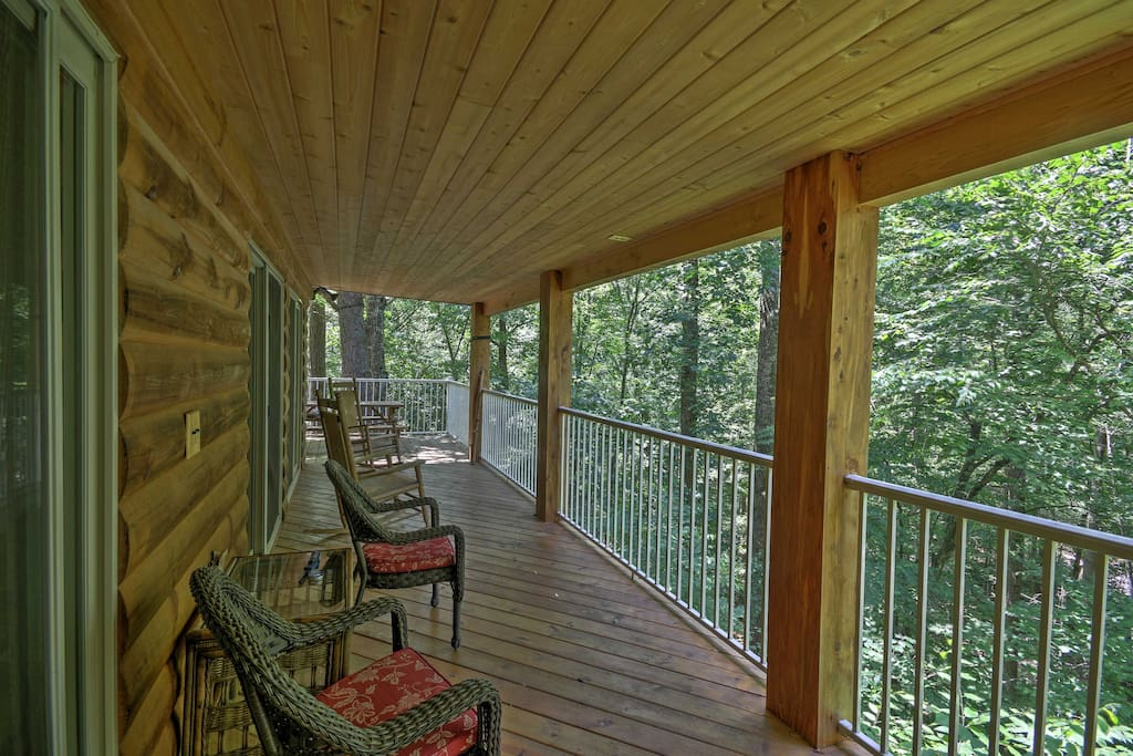 Enjoy amazing views of the river and mountains from the large deck.