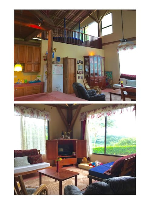 Living room downstairs and loft with trampoline upstairs!