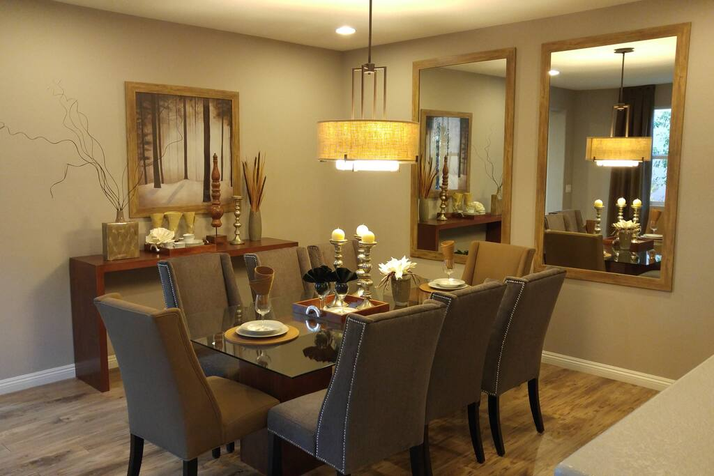 Formal dining area with seating for eight.