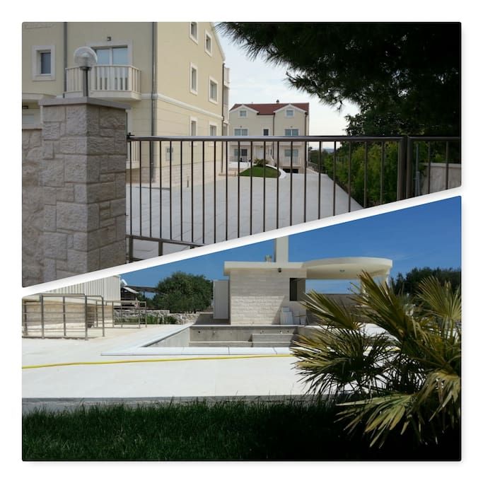Collage, gate to the property, swimming pool and outdoor kitchen
