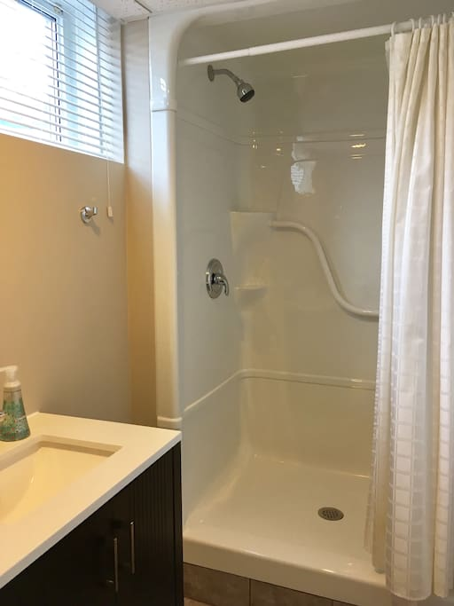 Brand new bathroom with stand up shower.
