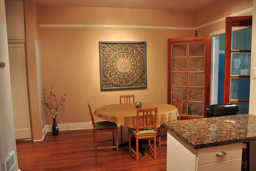 Dining room with bamboo floors.