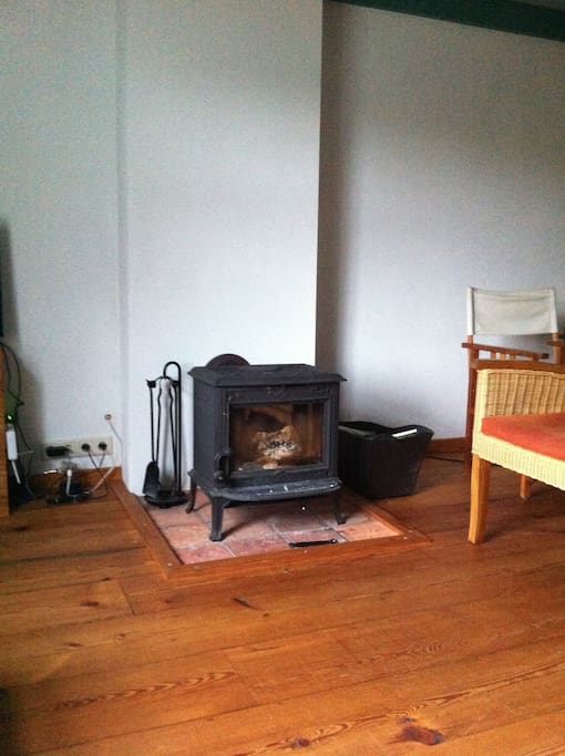 Noorse houtkachel. Prachtige houten vloer