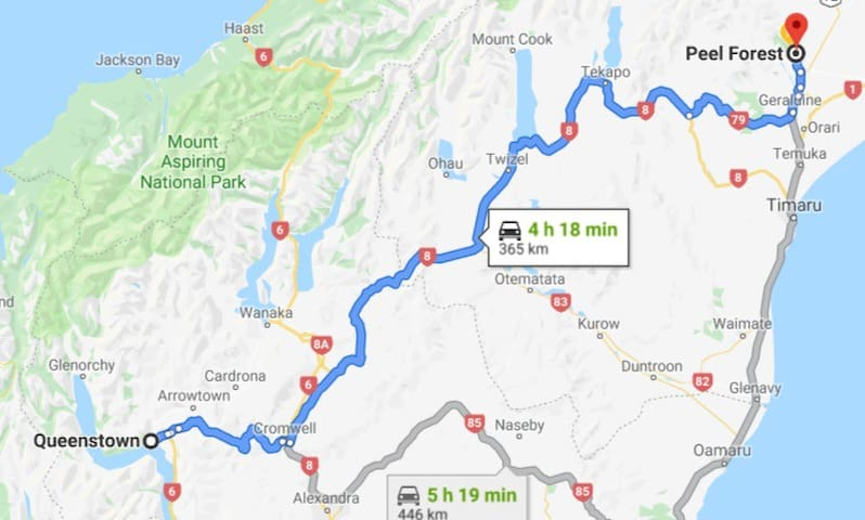 Driving time from Queenstown to Peel Forest - 4 hours 18 minutes.  A stunning Scenic drive.