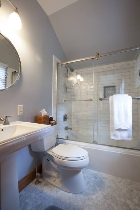 Upscale amenities include a marble ensuite master bath, organic linens and towels.