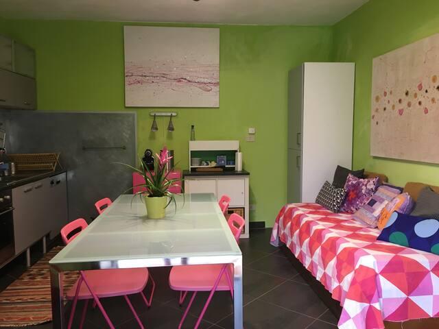 zona cucina con tavolo e divano che diventa letto con ulteriore letto scomparsa