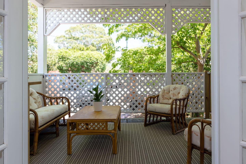 Outdoor lounge on veranda outside your bedroom doors