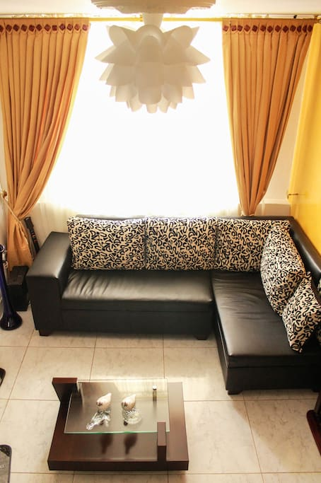 Spaceous living room, with big sofa, TV with cable. Nice place to read, next to door to street.
