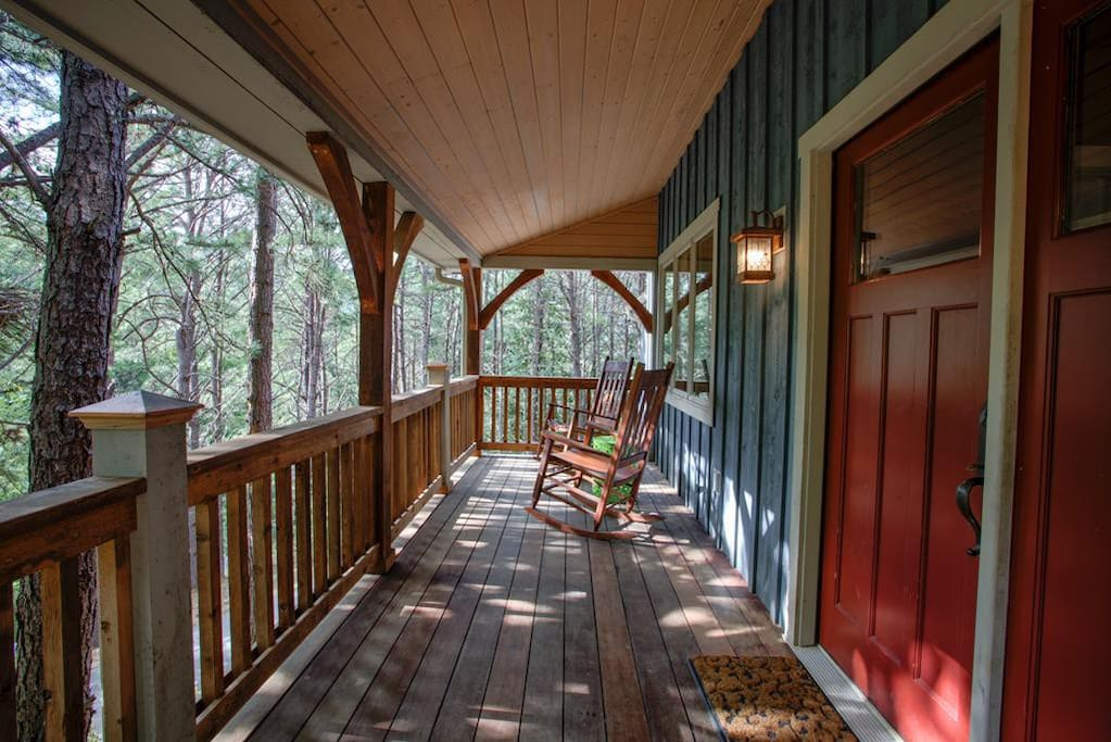 Relaxing front porch with rocking chairs