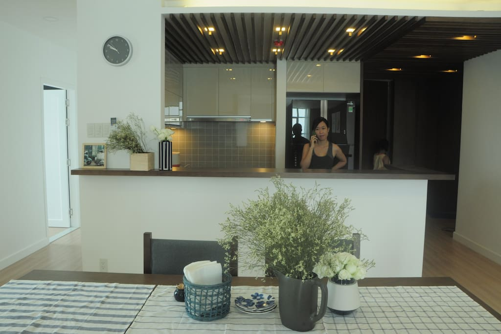 The kitchen bar and dining area (shared space)