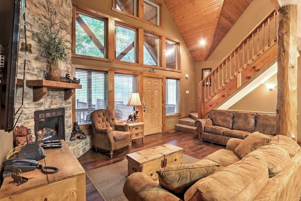 The spacious cabin boasts 4,000 square feet of well-appointed living space.