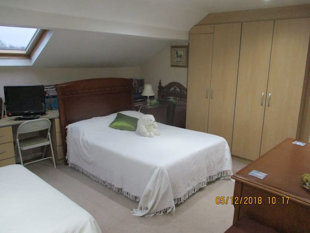Double 4 ft 6 in bed near the en-suite bathroom. TV with Freeview and desk space, with double sockets.