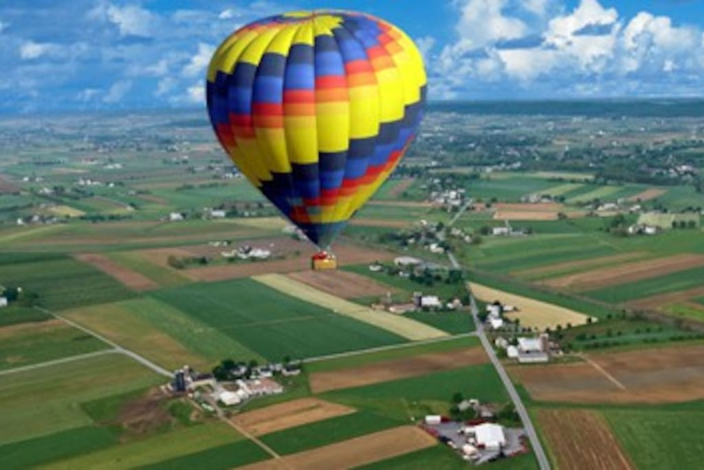 Colorful balloons over a gorgeous landscape
