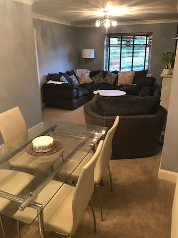 Open Dining and living room.
