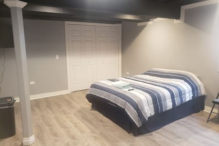 Newly finished basement bedroom.