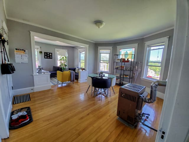 Spacious shared dining room and living room. Tons of light, and offers a great view. Enjoy a book, food, or use the table to study.