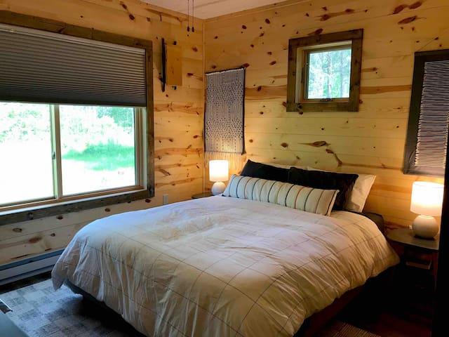 Bedroom 1: Comfy queen size Casper mattress and luxury Brooklinen sheets.