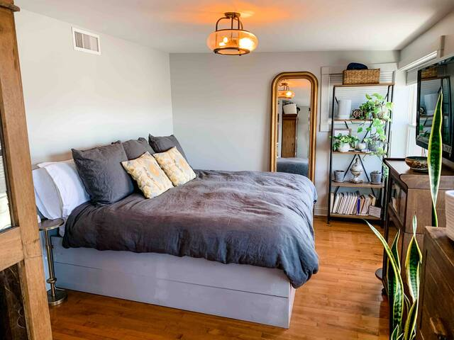 The master bedroom with king bed and plenty of natural lighting